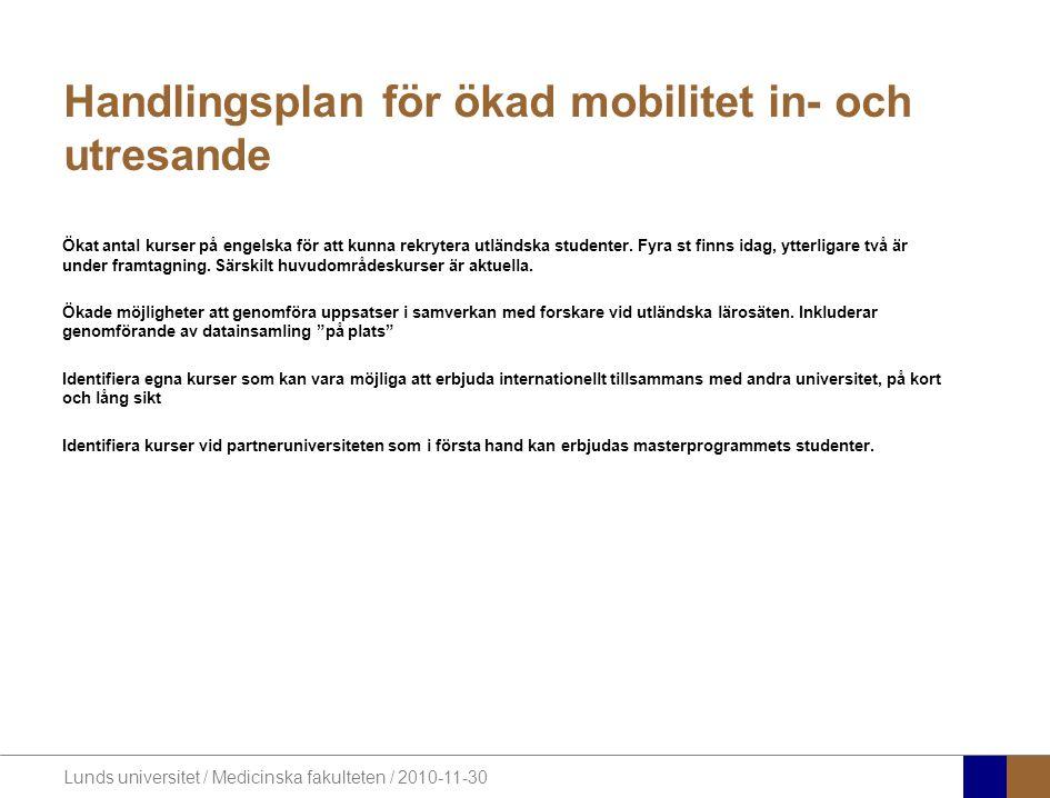 Lunds universitet / Medicinska fakulteten / 2010-11-30 Handlingsplan för ökad mobilitet in- och utresande Ökat antal kurser på engelska för att kunna rekrytera utländska studenter.
