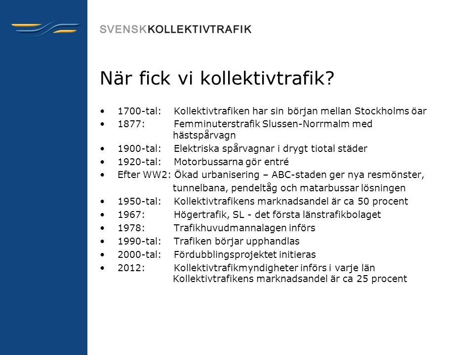 När fick vi kollektivtrafik? •1700-tal: Kollektivtrafiken har sin början mellan Stockholms öar •1877: Femminuterstrafik Slussen-Norrmalm med hästspårv