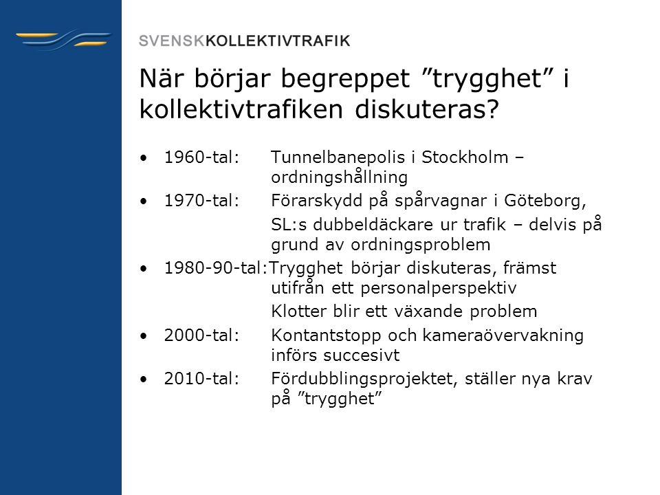 """När börjar begreppet """"trygghet"""" i kollektivtrafiken diskuteras? •1960-tal: Tunnelbanepolis i Stockholm – ordningshållning •1970-tal: Förarskydd på spå"""