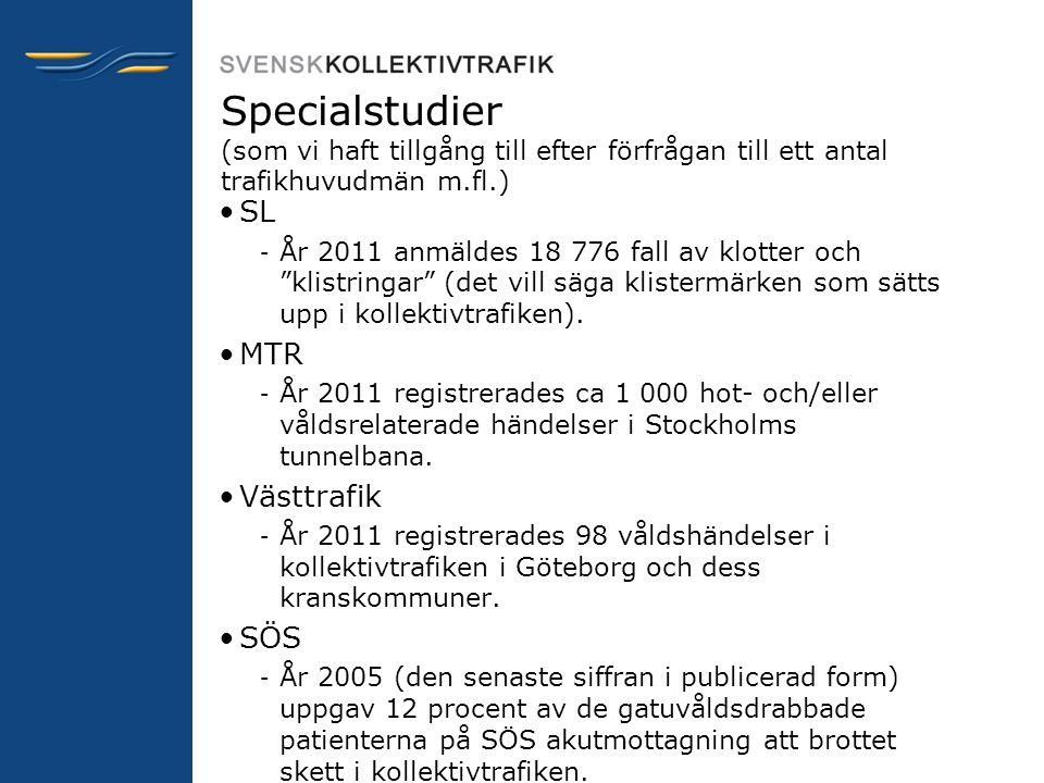 """Specialstudier (som vi haft tillgång till efter förfrågan till ett antal trafikhuvudmän m.fl.) •SL – År 2011 anmäldes 18 776 fall av klotter och """"klis"""
