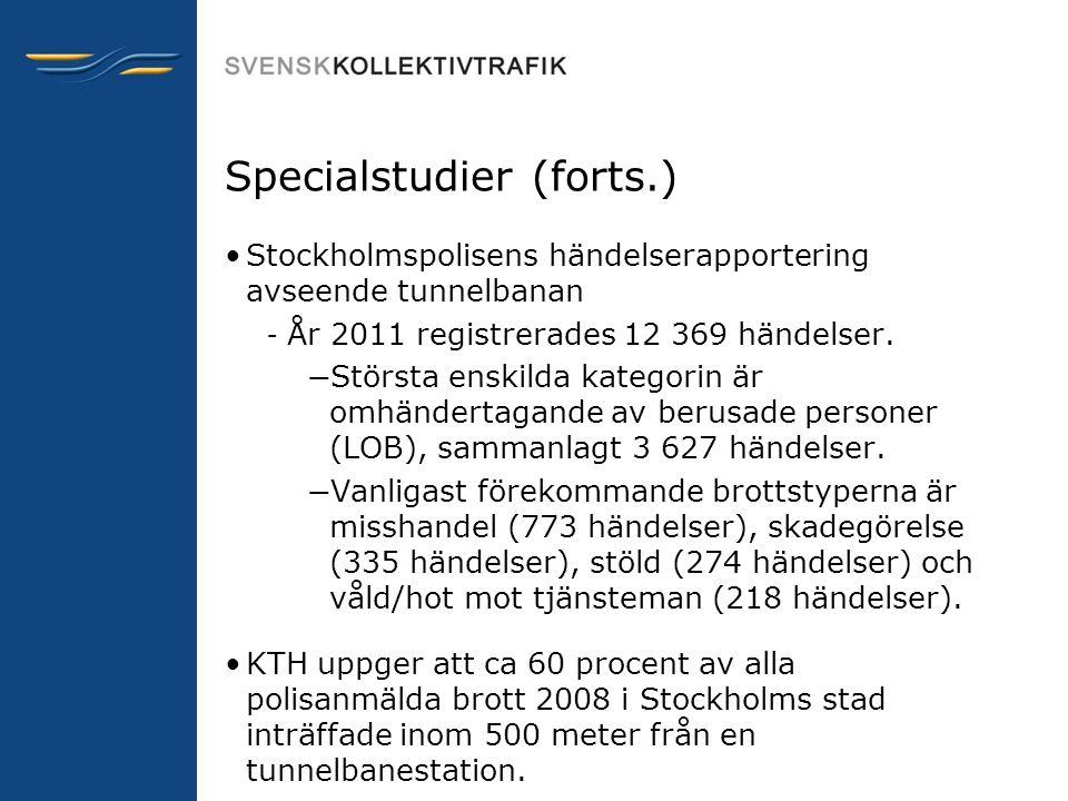 Specialstudier (forts.) •Stockholmspolisens händelserapportering avseende tunnelbanan – År 2011 registrerades 12 369 händelser. — Största enskilda kat