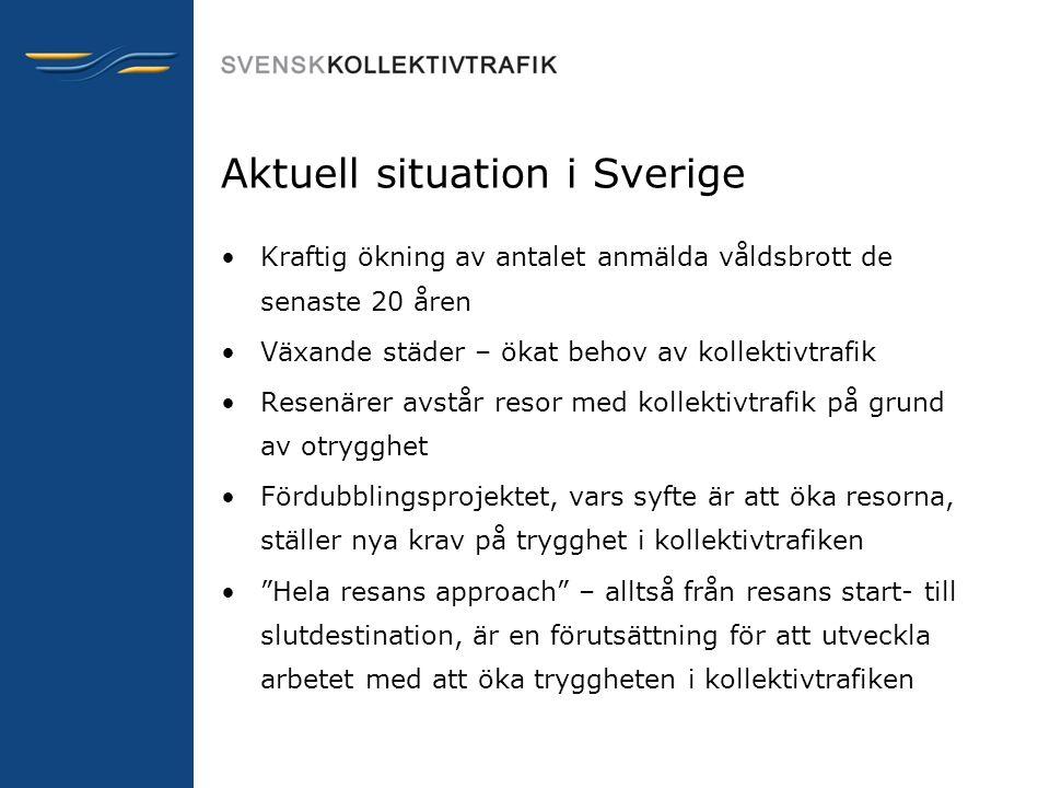 Aktuell situation i Sverige •Kraftig ökning av antalet anmälda våldsbrott de senaste 20 åren •Växande städer – ökat behov av kollektivtrafik •Resenäre