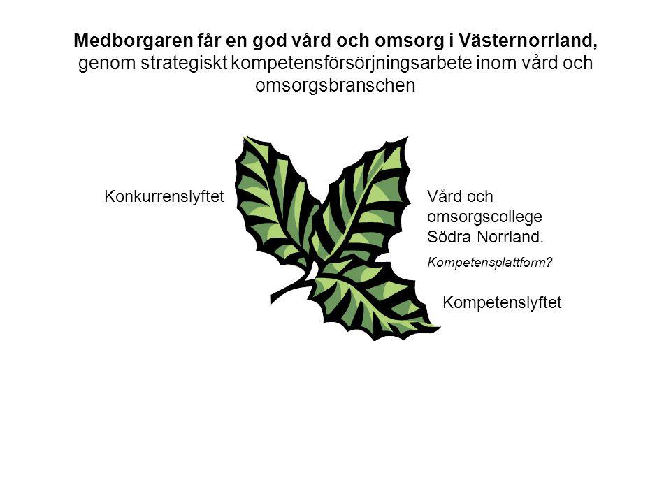 Medborgaren får en god vård och omsorg i Västernorrland, genom strategiskt kompetensförsörjningsarbete inom vård och omsorgsbranschen KonkurrenslyftetVård och omsorgscollege Södra Norrland.