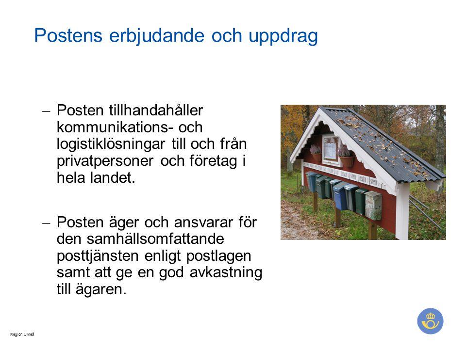Region Umeå Postens erbjudande och uppdrag  Posten tillhandahåller kommunikations- och logistiklösningar till och från privatpersoner och företag i h