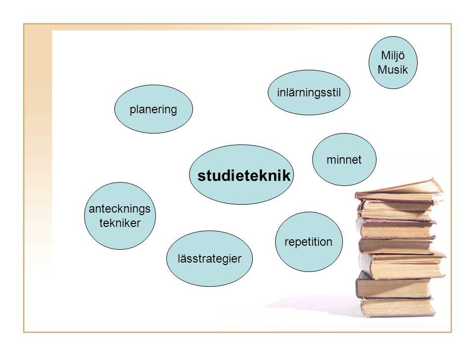 studieteknik inlärningsstil minnet Miljö Musik planering lässtrategier repetition antecknings tekniker