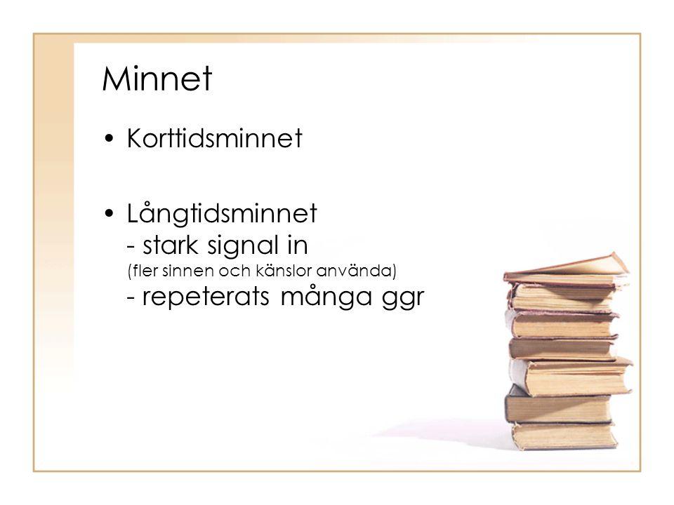 Minnet •Korttidsminnet •Långtidsminnet - stark signal in (fler sinnen och känslor använda) - repeterats många ggr
