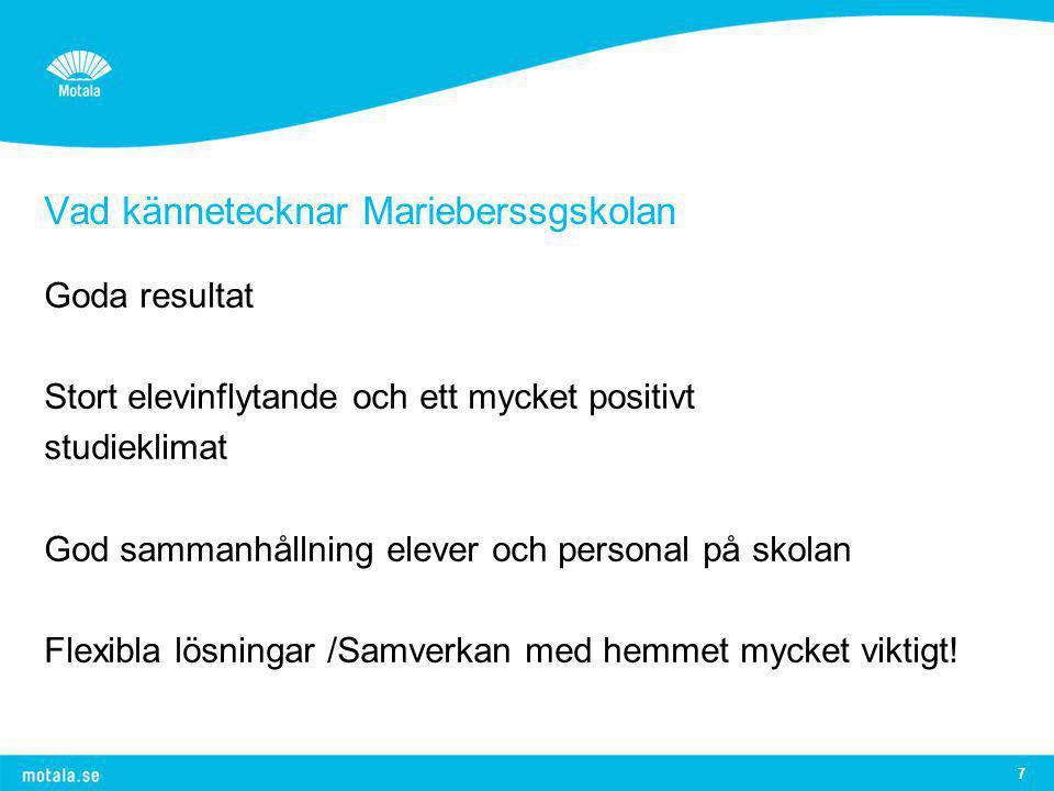 Vad kännetecknar Marieberssgskolan Goda resultat Stort elevinflytande och ett mycket positivt studieklimat God sammanhållning elever och personal på s