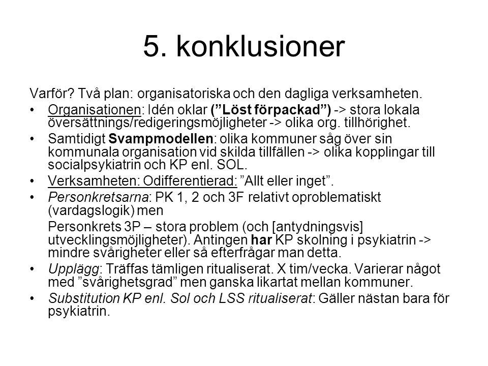 """5. konklusioner Varför? Två plan: organisatoriska och den dagliga verksamheten. •Organisationen: Idén oklar (""""Löst förpackad"""") -> stora lokala översät"""