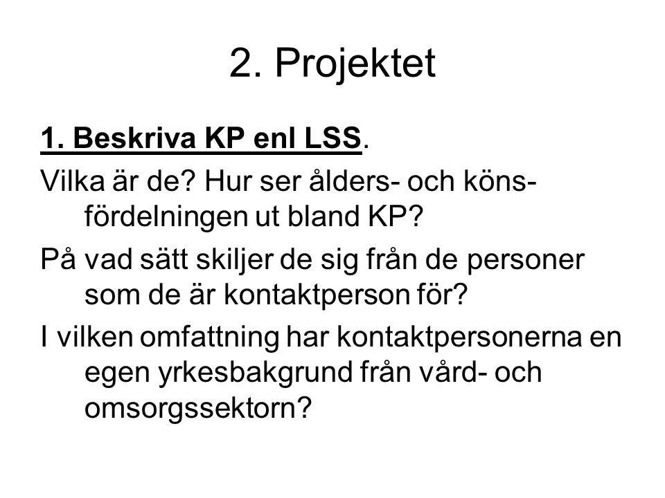 2. Projektet 1. Beskriva KP enl LSS. Vilka är de? Hur ser ålders- och köns- fördelningen ut bland KP? På vad sätt skiljer de sig från de personer som