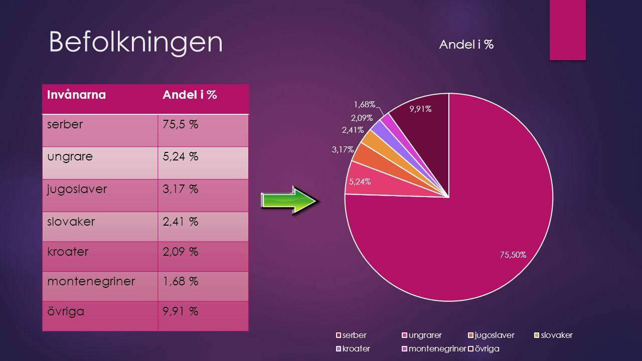 Befolkningen InvånarnaAndel i % serber75,5 % ungrare5,24 % jugoslaver3,17 % slovaker2,41 % kroater2,09 % montenegriner1,68 % övriga9,91 %