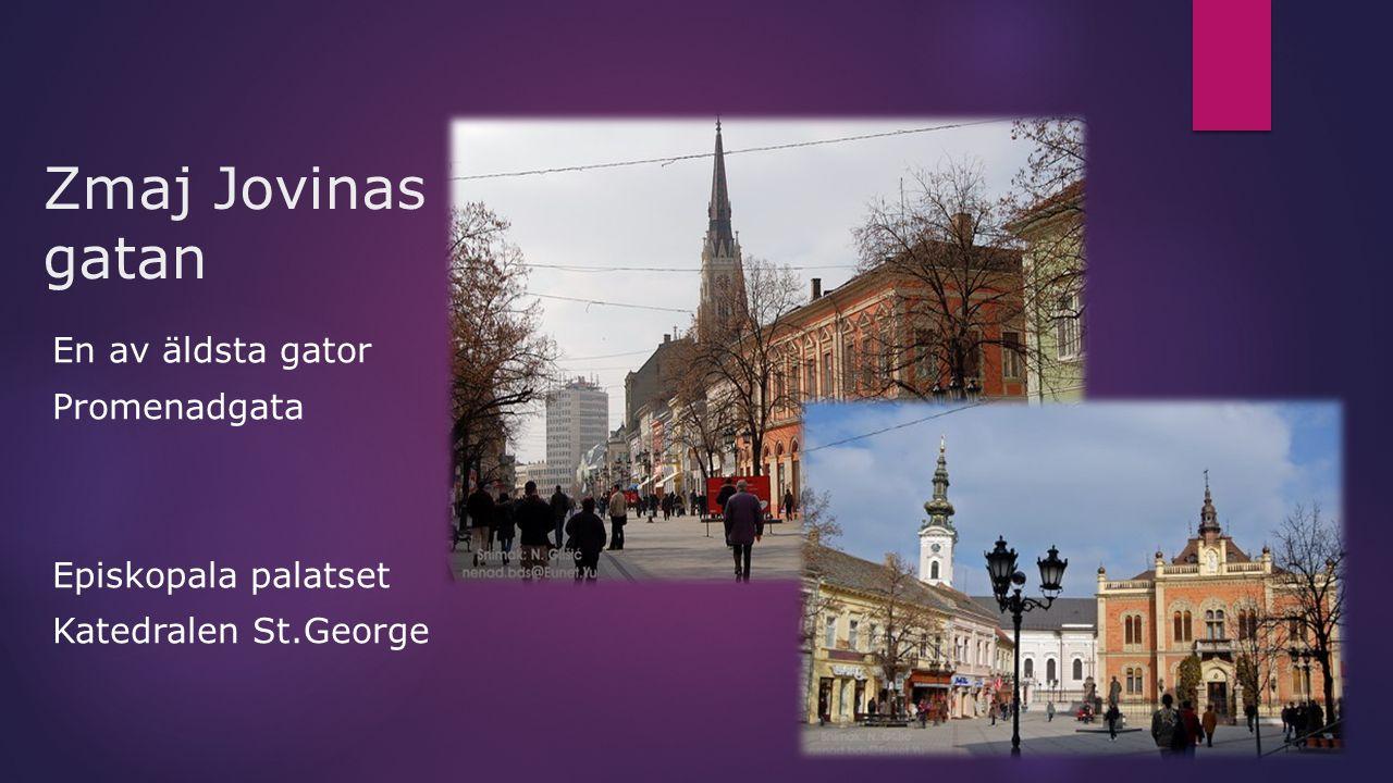 Zmaj Jovinas gatan En av äldsta gator Promenadgata Episkopala palatset Katedralen St.George