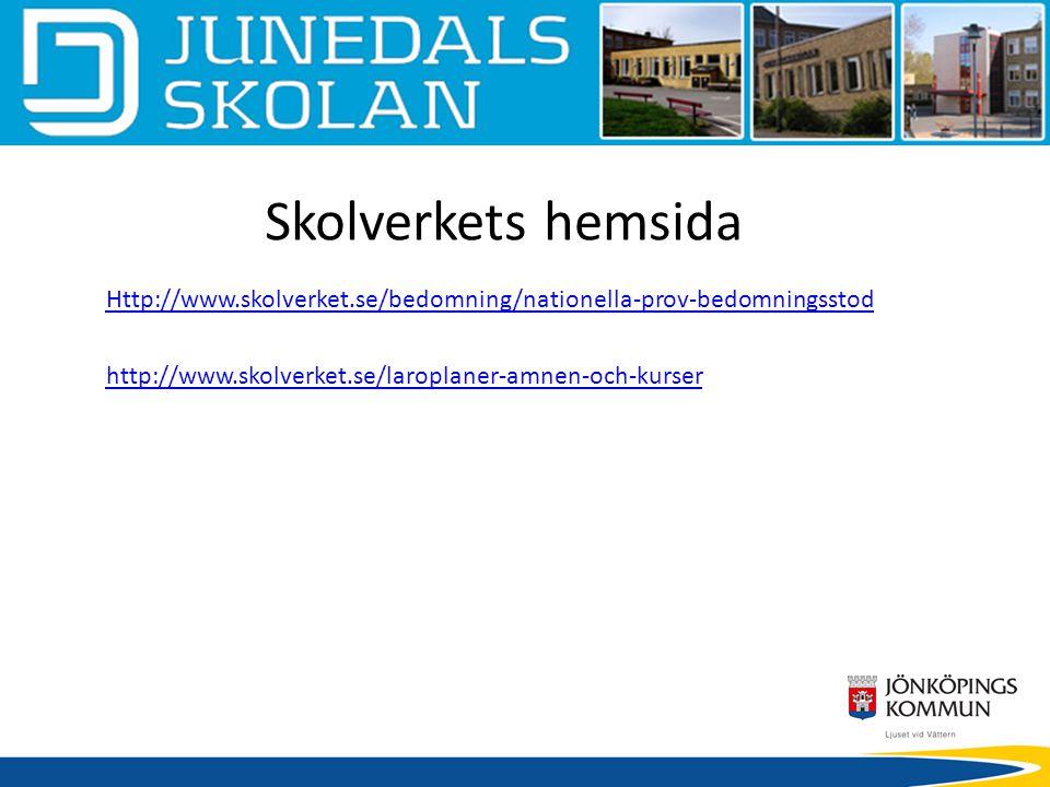 Skolverkets hemsida Http://www.skolverket.se/bedomning/nationella-prov-bedomningsstod http://www.skolverket.se/laroplaner-amnen-och-kurser