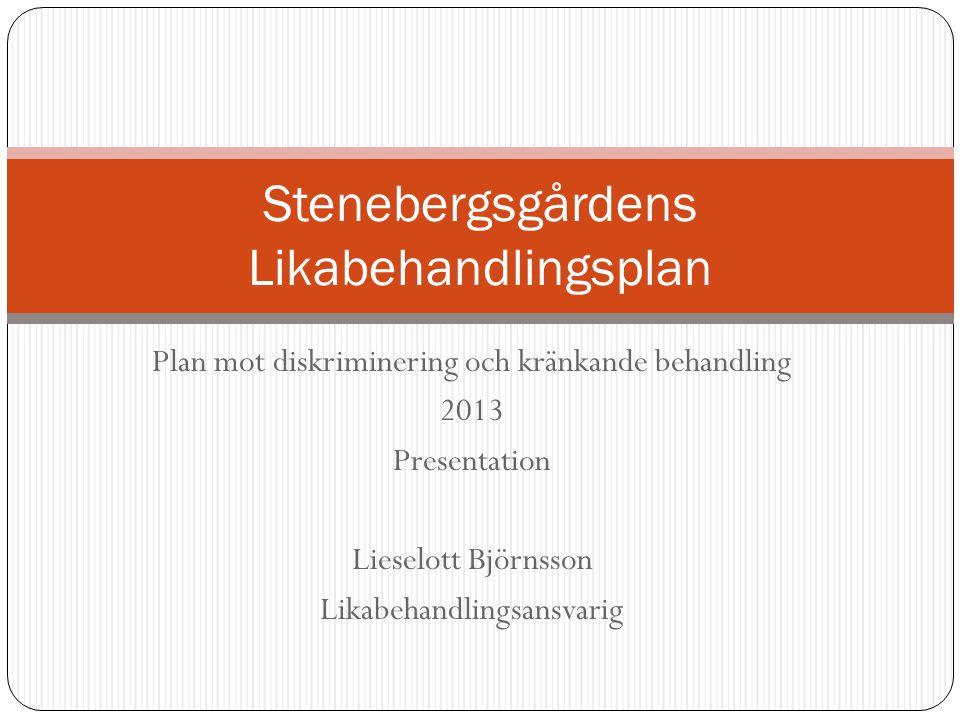 Plan mot diskriminering och kränkande behandling 2013 Presentation Lieselott Björnsson Likabehandlingsansvarig Stenebergsgårdens Likabehandlingsplan