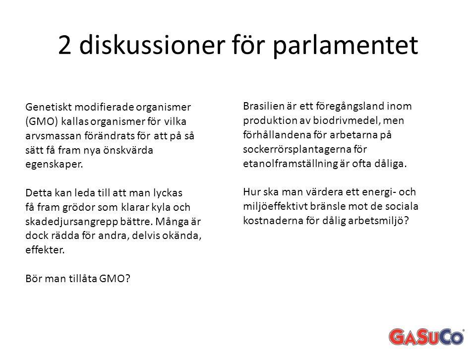 2 diskussioner för parlamentet Genetiskt modifierade organismer (GMO) kallas organismer för vilka arvsmassan förändrats för att på så sätt få fram nya