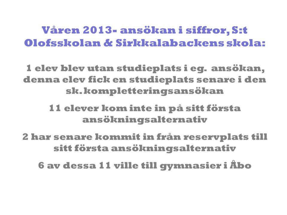 Våren 2013- ansökan i siffror, S:t Olofsskolan & Sirkkalabackens skola: 1 elev blev utan studieplats i eg. ansökan, denna elev fick en studieplats sen