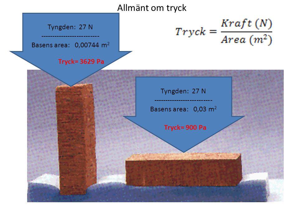 Allmänt om tryck Tyngden: 27 N -------------------------- Basens area: 0,00744 m 2 Tryck= 3629 Pa Tyngden: 27 N -------------------------- Basens area