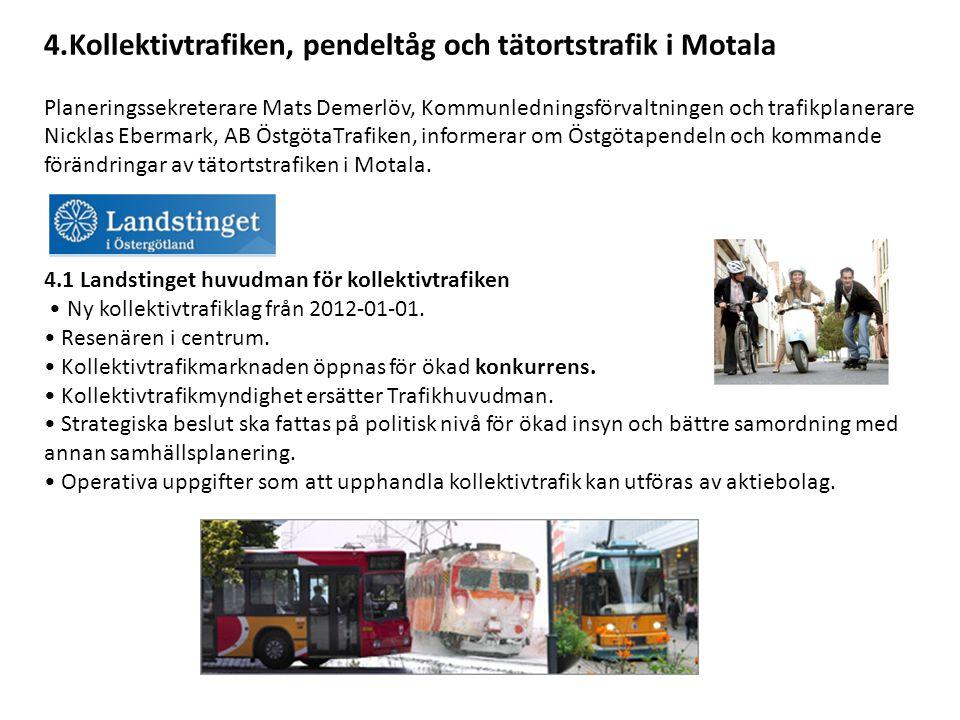 4.Kollektivtrafiken, pendeltåg och tätortstrafik i Motala Planeringssekreterare Mats Demerlöv, Kommunledningsförvaltningen och trafikplanerare Nicklas