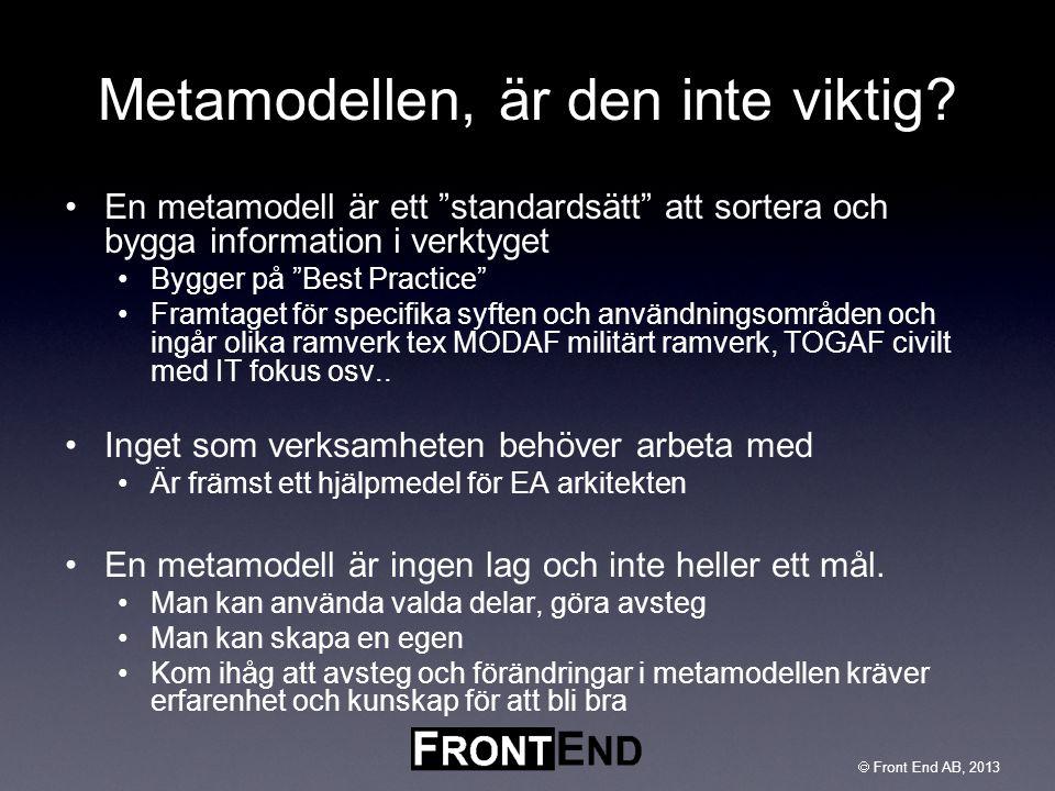""" Front End AB, 2003  Front End AB, 2013 Metamodellen, är den inte viktig? •En metamodell är ett """"standardsätt"""" att sortera och bygga information i v"""