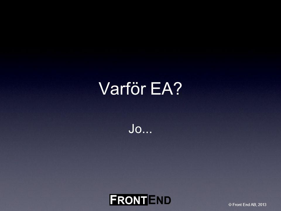  Front End AB, 2003  Front End AB, 2013 Vad är EA – nåt nytt.