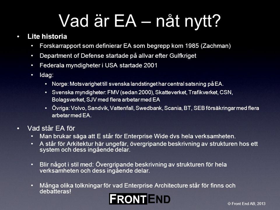  Front End AB, 2003  Front End AB, 2013 Vad är EA – nåt nytt? •Lite historia •Forskarrapport som definierar EA som begrepp kom 1985 (Zachman) •Depar