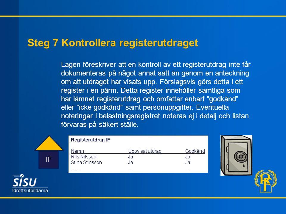 Steg 7 Kontrollera registerutdraget IF Lagen föreskriver att en kontroll av ett registerutdrag inte får dokumenteras på något annat sätt än genom en a