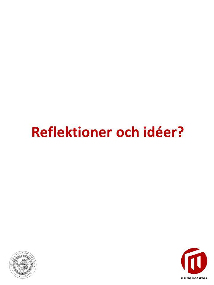 Reflektioner och idéer?