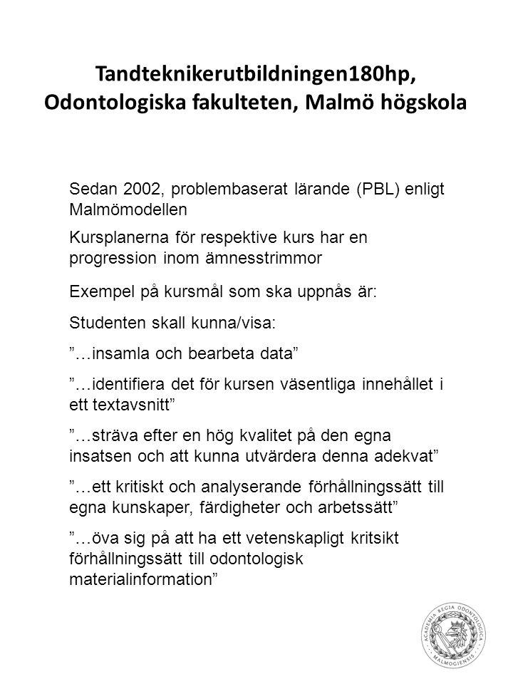 Tandteknikerutbildningen180hp, Odontologiska fakulteten, Malmö högskola Sedan 2002, problembaserat lärande (PBL) enligt Malmömodellen Kursplanerna för
