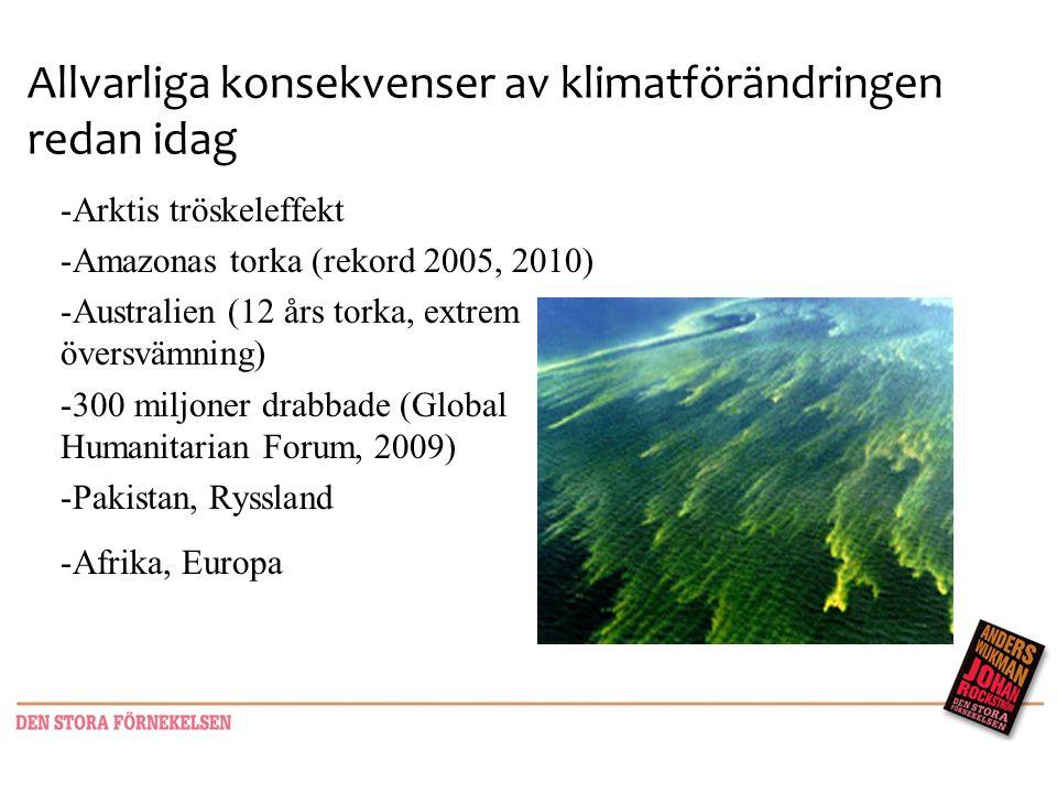 Allvarliga konsekvenser av klimatförändringen redan idag -Arktis tröskeleffekt -Amazonas torka (rekord 2005, 2010) -Australien (12 års torka, extrem ö