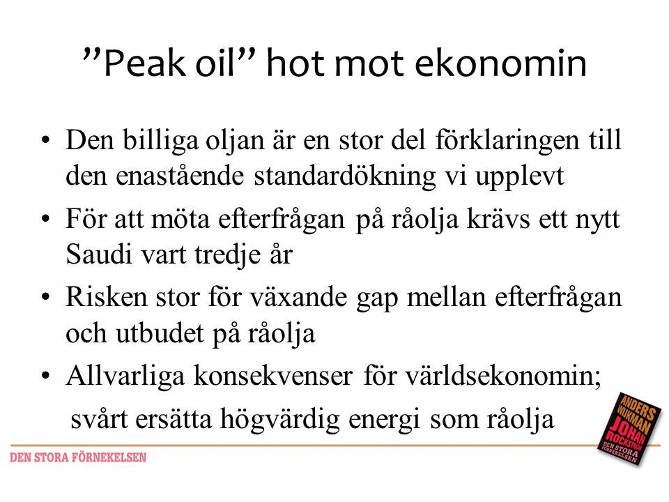 """""""Peak oil"""" hot mot ekonomin •Den billiga oljan är en stor del förklaringen till den enastående standardökning vi upplevt •För att möta efterfrågan på"""