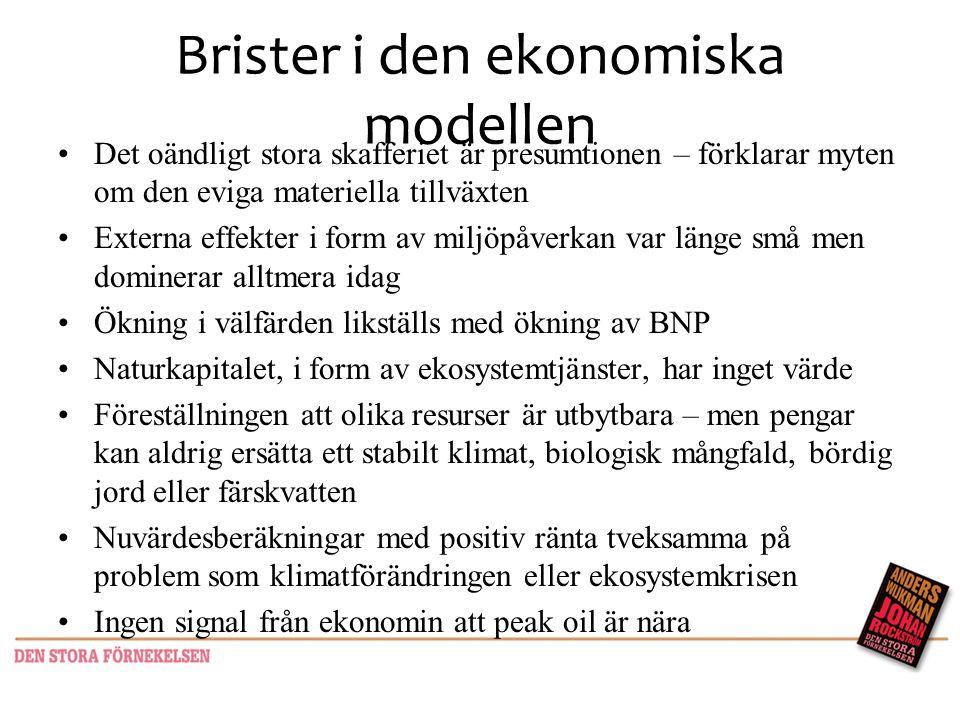 Brister i den ekonomiska modellen •Det oändligt stora skafferiet är presumtionen – förklarar myten om den eviga materiella tillväxten •Externa effekte