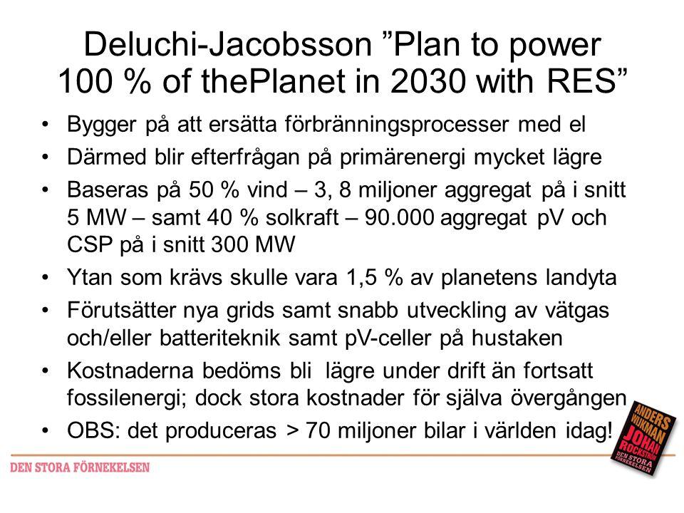 """Deluchi-Jacobsson """"Plan to power 100 % of thePlanet in 2030 with RES"""" •Bygger på att ersätta förbränningsprocesser med el •Därmed blir efterfrågan på"""