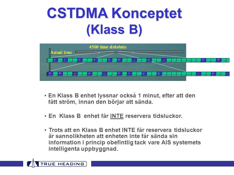 CSTDMA Konceptet (Klass B) •En Klass B enhet lyssnar också 1 minut, efter att den fått ström, innan den börjar att sända.