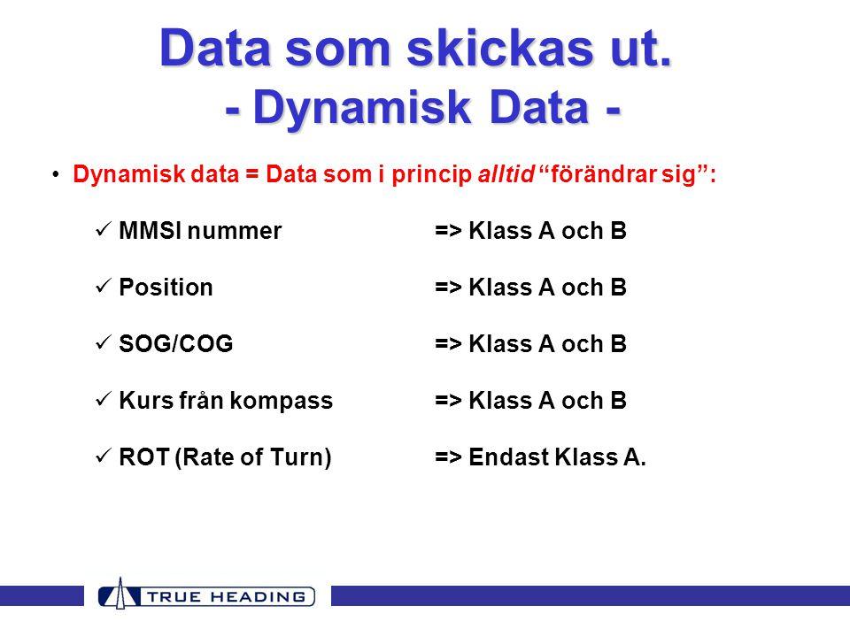 • Dynamisk data = Data som i princip alltid förändrar sig :  MMSI nummer=> Klass A och B  Position=> Klass A och B  SOG/COG=> Klass A och B  Kurs från kompass=> Klass A och B  ROT (Rate of Turn)=> Endast Klass A.