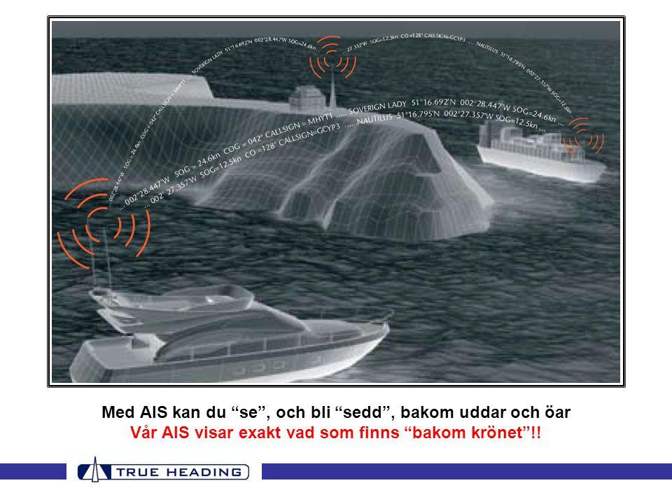 Med AIS kan du se , och bli sedd , bakom uddar och öar Vår AIS visar exakt vad som finns bakom krönet !!