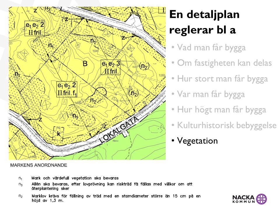 • Vad man får bygga • Om fastigheten kan delas • Hur stort man får bygga • Var man får bygga • Hur högt man får bygga • Kulturhistorisk bebyggelse • Vegetation En detaljplan reglerar bl a
