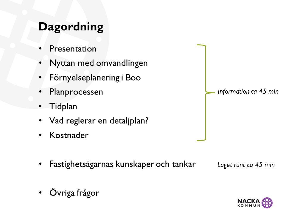 • Presentation • Nyttan med omvandlingen • Förnyelseplanering i Boo • Planprocessen • Tidplan • Vad reglerar en detaljplan.