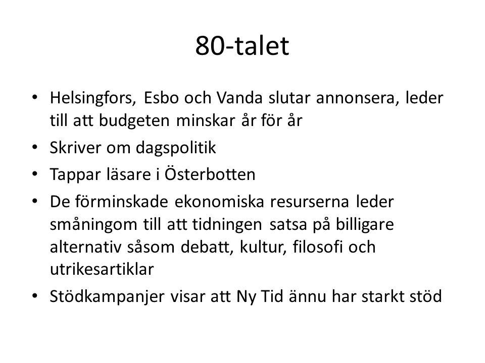 80-talet • Helsingfors, Esbo och Vanda slutar annonsera, leder till att budgeten minskar år för år • Skriver om dagspolitik • Tappar läsare i Österbot