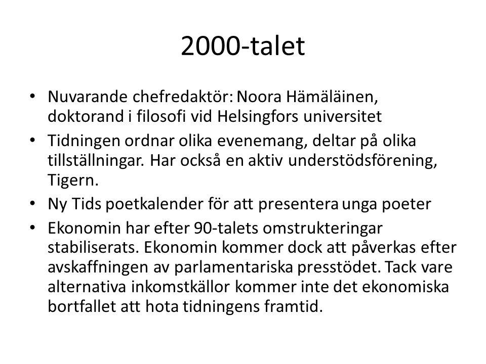 2000-talet • Nuvarande chefredaktör: Noora Hämäläinen, doktorand i filosofi vid Helsingfors universitet • Tidningen ordnar olika evenemang, deltar på