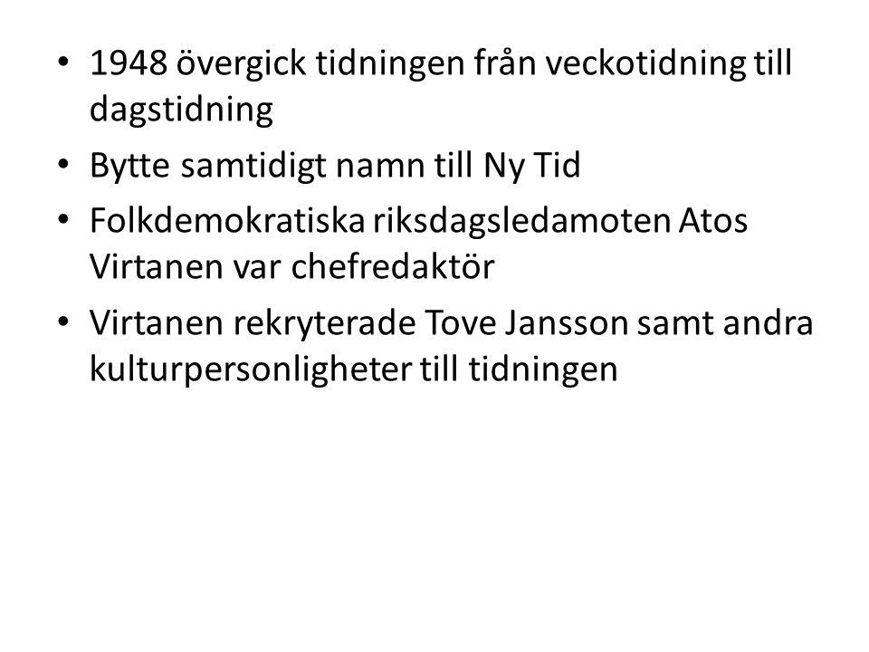 • Bytte samtidigt namn till Ny Tid • Folkdemokratiska riksdagsledamoten Atos Virtanen var chefredaktör • Virtanen rekryterade Tove Jansson samt andra