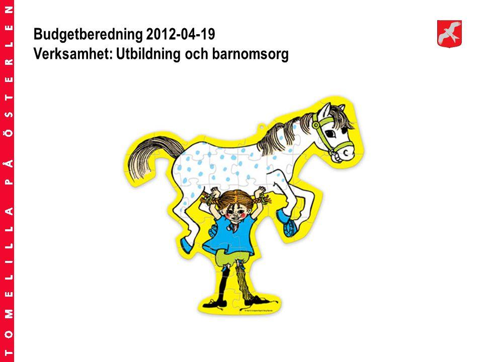 Budgetberedning 2012-04-19 Verksamhet: Utbildning och barnomsorg