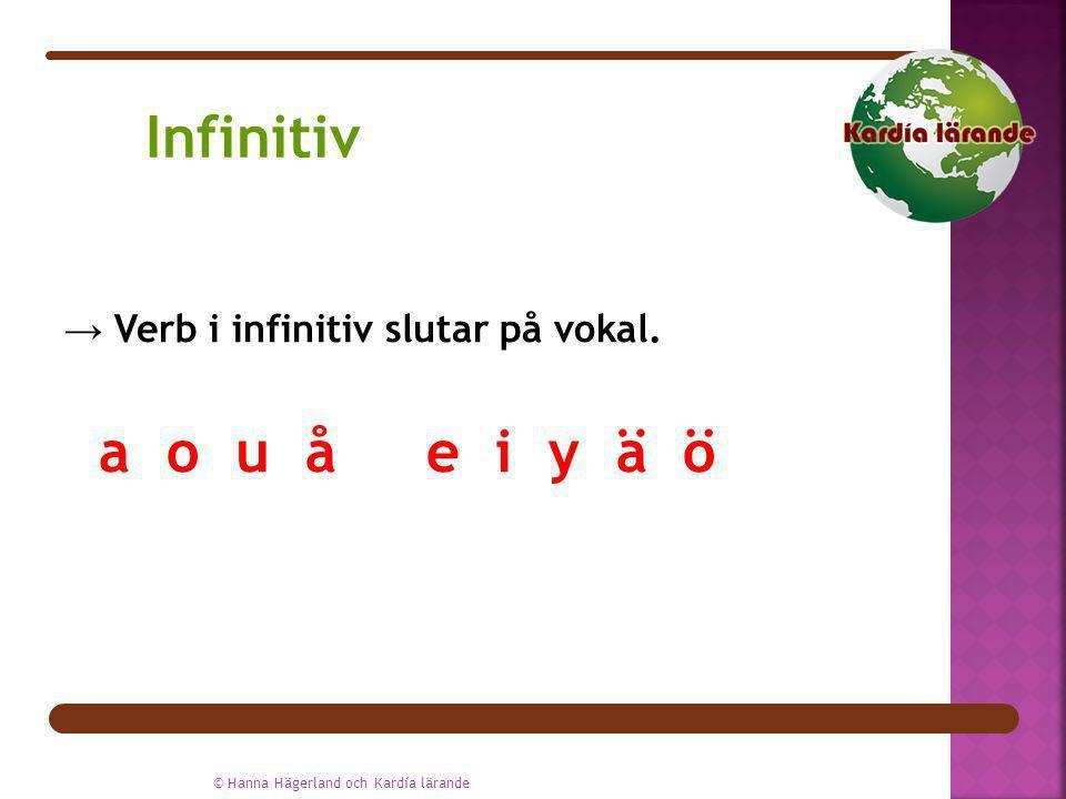 → Verb i infinitiv slutar på vokal. a o u å e i y ä ö © Hanna Hägerland och Kardía lärande Infinitiv