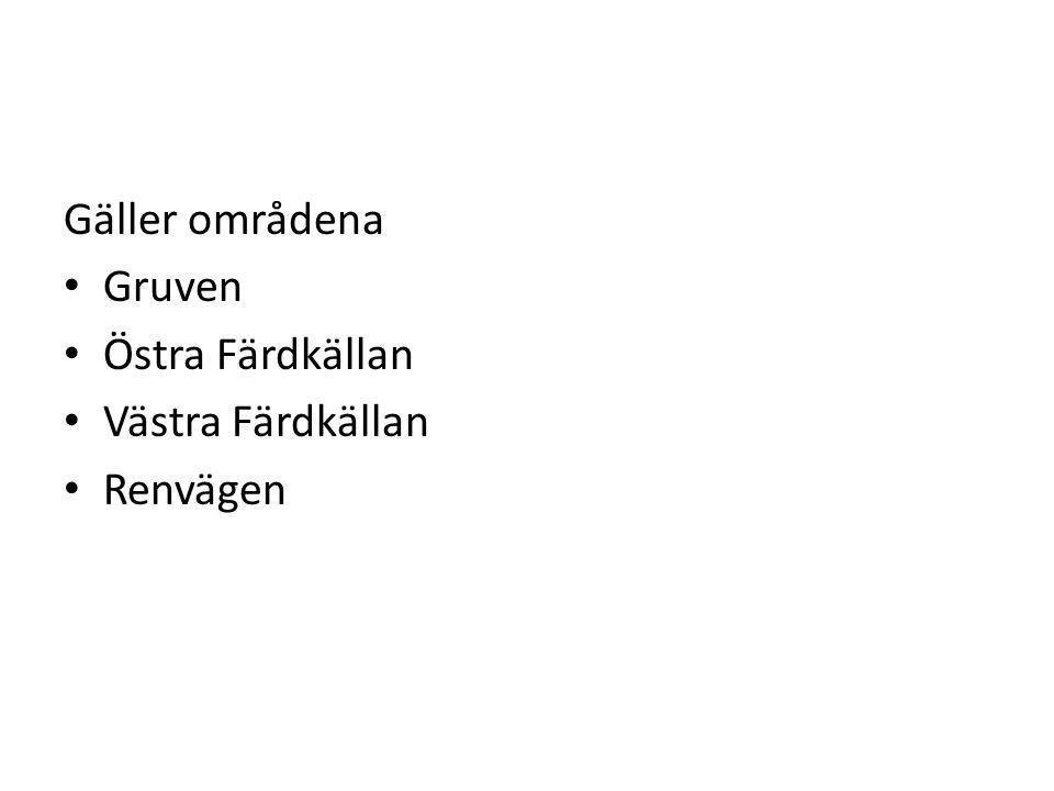 Gäller områdena • Gruven • Östra Färdkällan • Västra Färdkällan • Renvägen