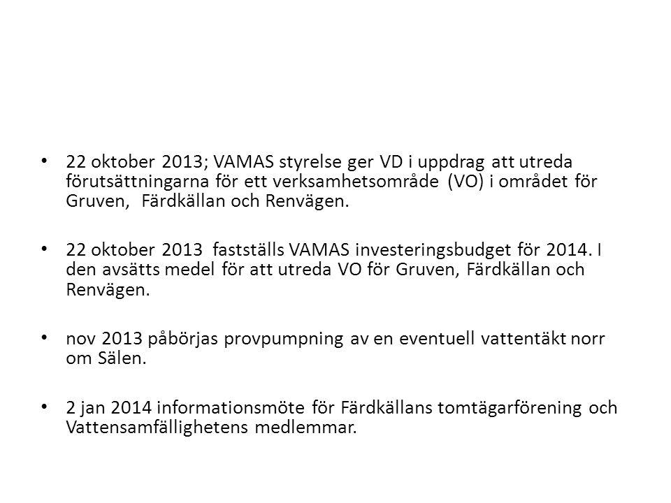 • 22 oktober 2013; VAMAS styrelse ger VD i uppdrag att utreda förutsättningarna för ett verksamhetsområde (VO) i området för Gruven, Färdkällan och Renvägen.