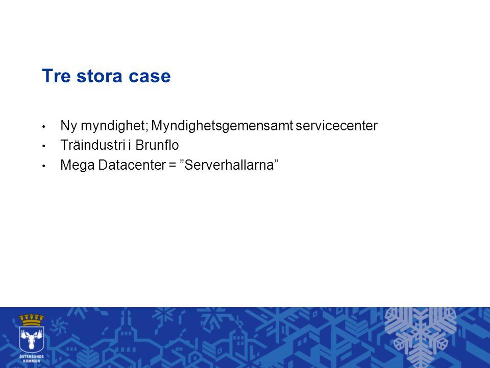 """Tre stora case • Ny myndighet; Myndighetsgemensamt servicecenter • Träindustri i Brunflo • Mega Datacenter = """"Serverhallarna"""""""