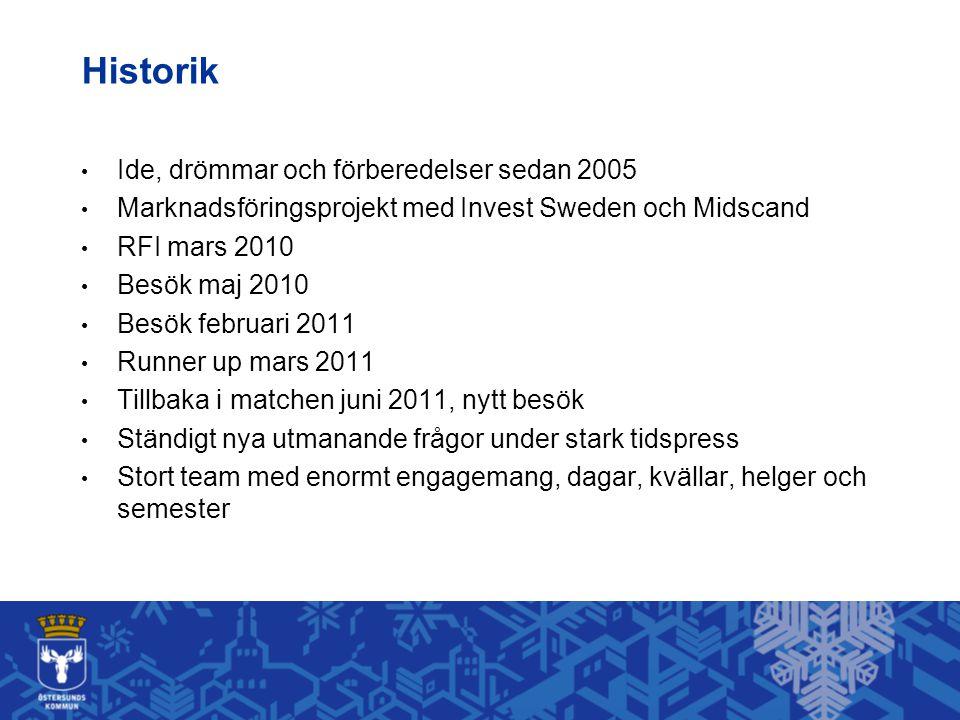 Historik • Ide, drömmar och förberedelser sedan 2005 • Marknadsföringsprojekt med Invest Sweden och Midscand • RFI mars 2010 • Besök maj 2010 • Besök
