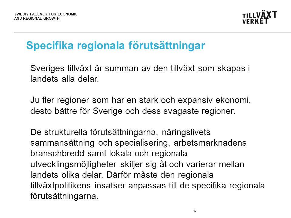 SWEDISH AGENCY FOR ECONOMIC AND REGIONAL GROWTH 12 Sveriges tillväxt är summan av den tillväxt som skapas i landets alla delar. Ju fler regioner som h