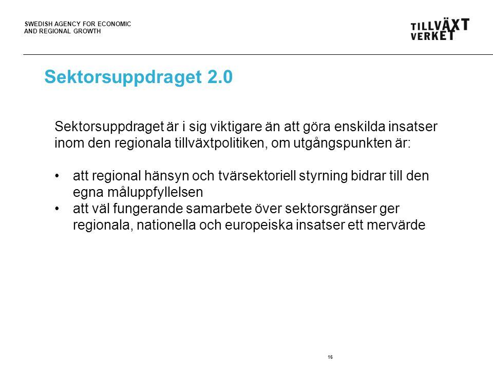 SWEDISH AGENCY FOR ECONOMIC AND REGIONAL GROWTH 16 Sektorsuppdraget är i sig viktigare än att göra enskilda insatser inom den regionala tillväxtpoliti