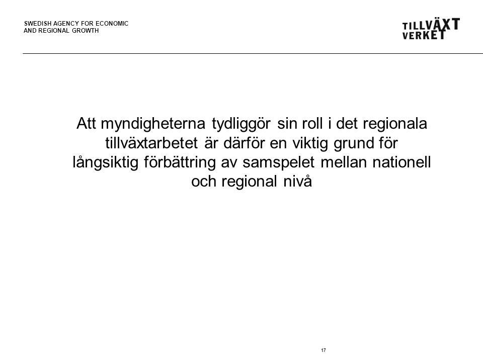 SWEDISH AGENCY FOR ECONOMIC AND REGIONAL GROWTH 17 Att myndigheterna tydliggör sin roll i det regionala tillväxtarbetet är därför en viktig grund för