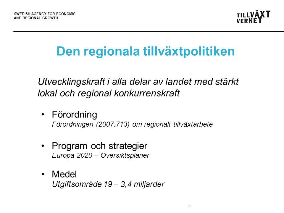 SWEDISH AGENCY FOR ECONOMIC AND REGIONAL GROWTH Den regionala tillväxtpolitikens resurser 6 Riktade insatserGemensamma insatser Hävstång och katalysatorStrategier och processer