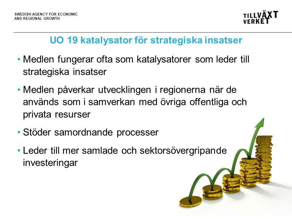 SWEDISH AGENCY FOR ECONOMIC AND REGIONAL GROWTH 8 UO 19 katalysator för strategiska insatser •Medlen fungerar ofta som katalysatorer som leder till st